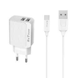 Мрежово зарядно устройство, DeTech, DE-09M, 5V/2.4A, 220V, 2 x USB