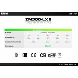 Zalman Захранване PSU 500W APFC ZM500-LXII
